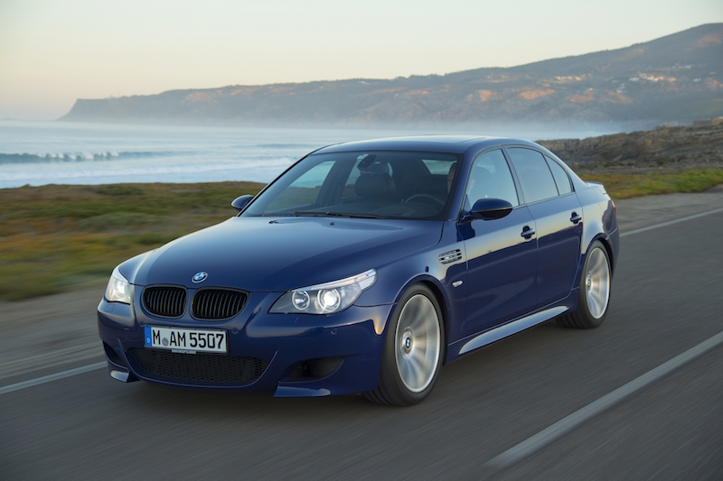 2005 BMW M5 E60 front quarter view pov