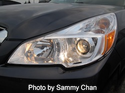 2013 Subaru Outback 3.6R Limited Gray front headlights on
