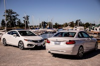 BMW 228i Honda Civic Si White front and rear views
