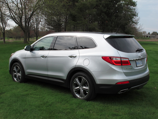 2014 Hyundai Sante Fe XL Silver rear side view
