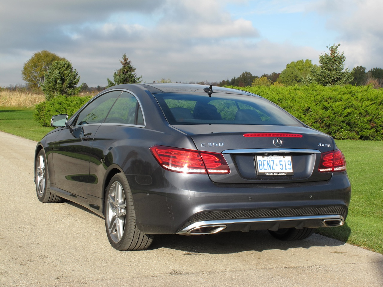 2014 mercedes benz e350 coupe gray rear taillights exhausts