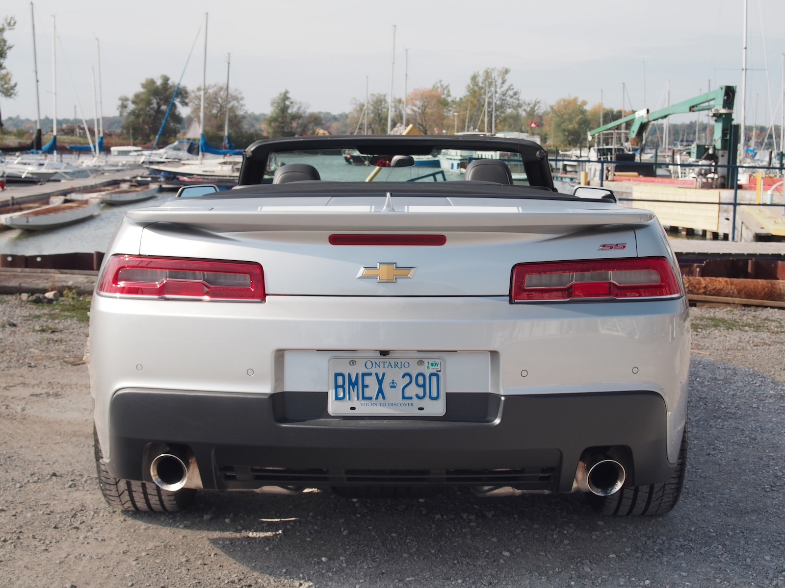 2015 chevrolet camaro ss convertible silver rear racing stripes exhaust