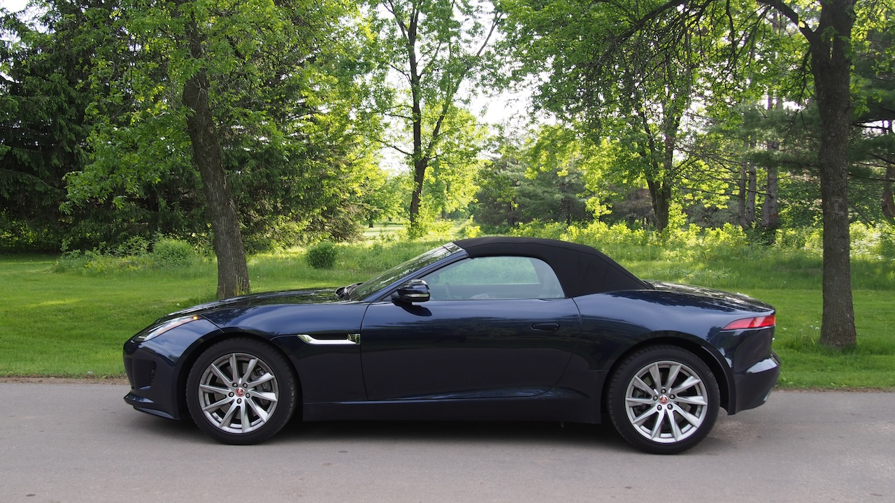 ... 2015 Jaguar F Type V6 Convertible Indigo Blue Metallic Roof Up Side  View ...