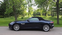 2015 Jaguar F-Type V6 Convertible Indigo Blue Metallic roof up side view