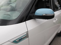 2015 Kia Soul EV White Blue mirror caps fenders