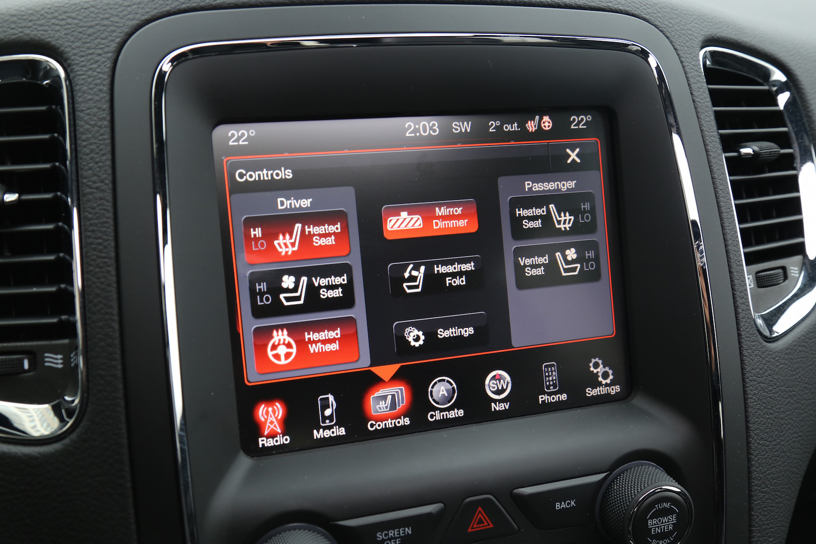 Dodge Durango Rt Heated Controls