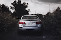 Infiniti Q50 Red Sport 400 AWD rear view q50s spoiler