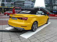 2017 Audi S3 Cabriolet yellow rear view quad exhausts