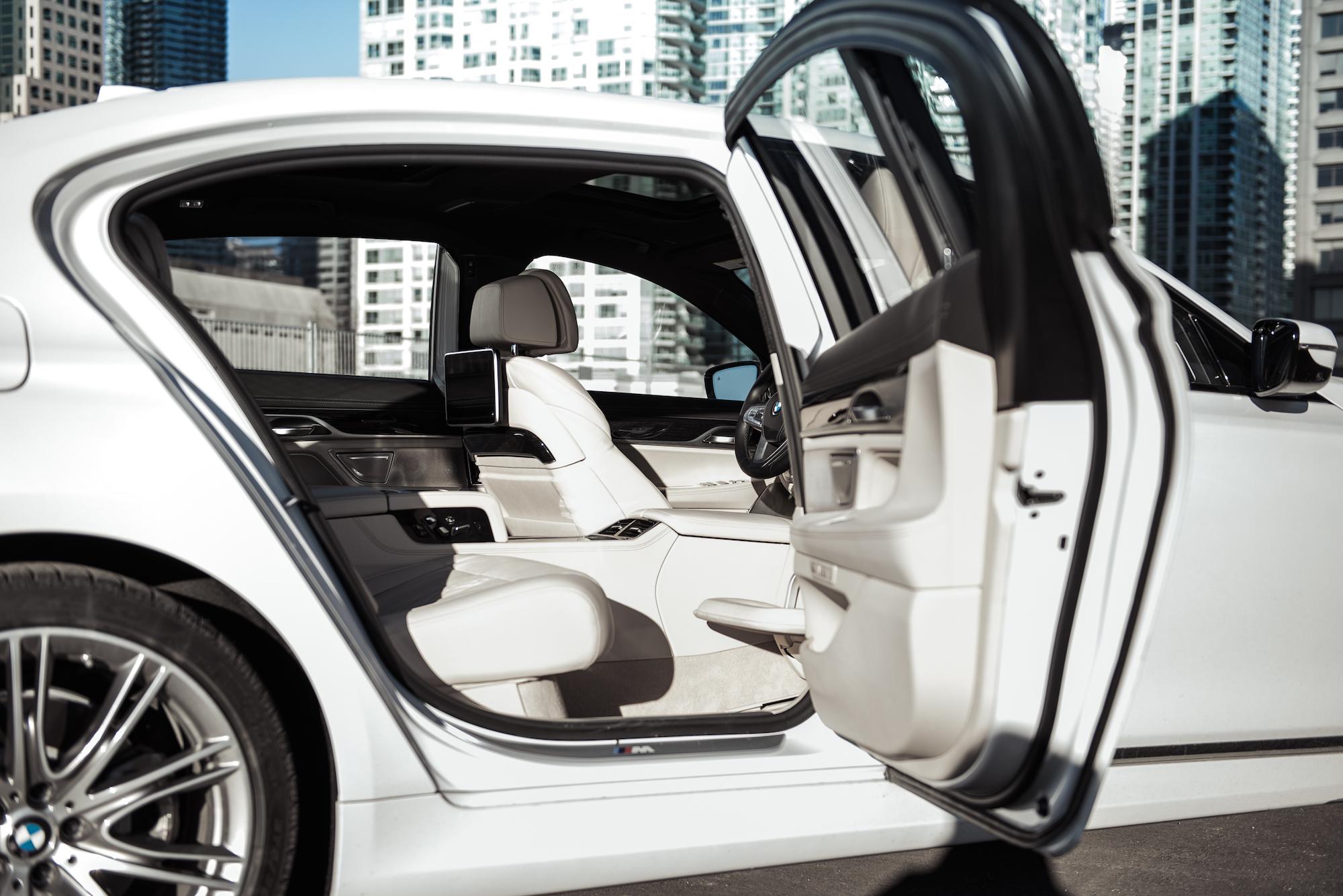 2017 BMW 7 Series Rear White Seats Leather