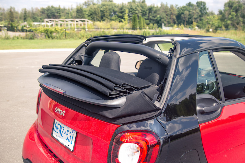 2017 smart fortwo cabrio folded down fabric top