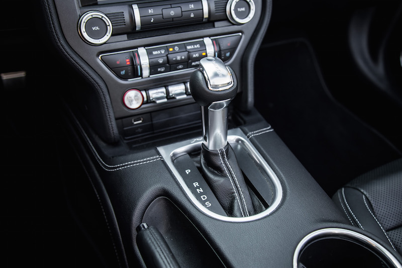 2018 Ford Mustang EcoBoost Convertible 10-speed automatic shifter