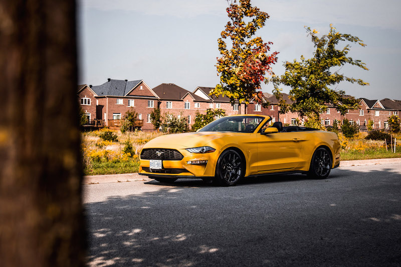 2018 Ford Mustang EcoBoost Convertible yellow orange paint