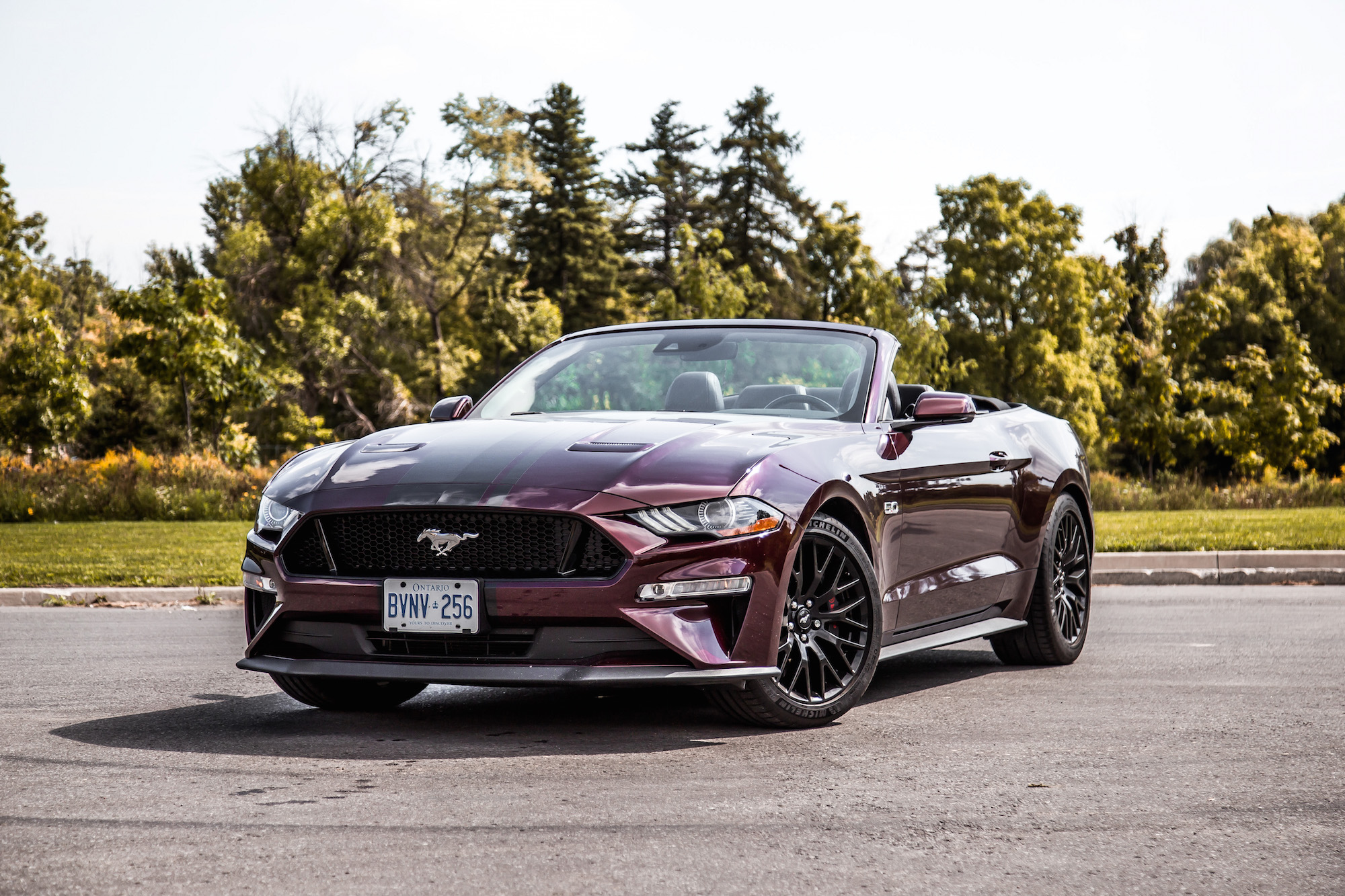 2018 ford mustang gt convertible purple red paint colour