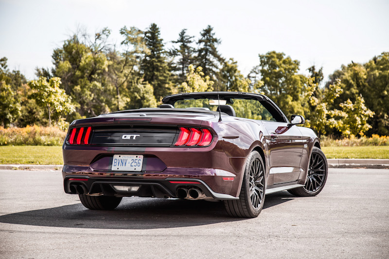 2018 Ford Mustang GT Convertible top down rear quarter view