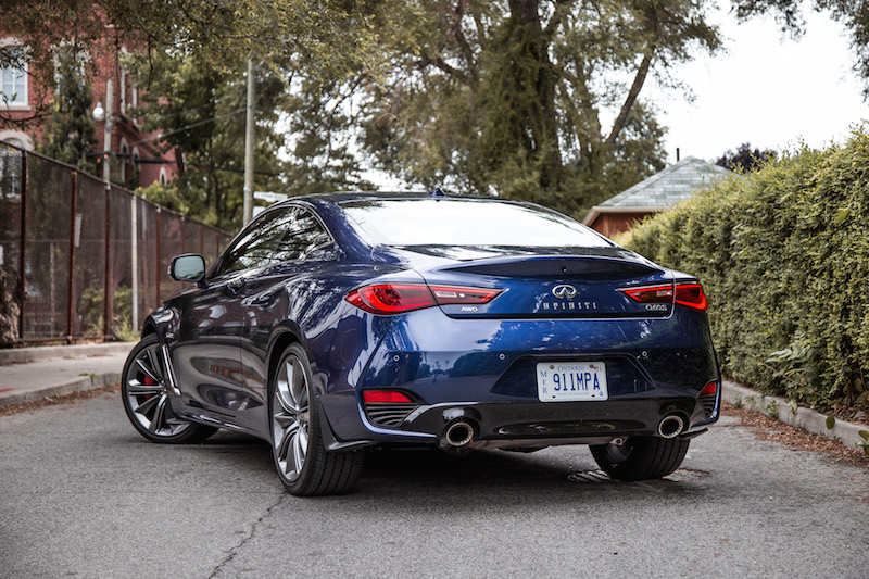 2018 Infiniti Q60 Red Sport 400 AWD rear quarter view