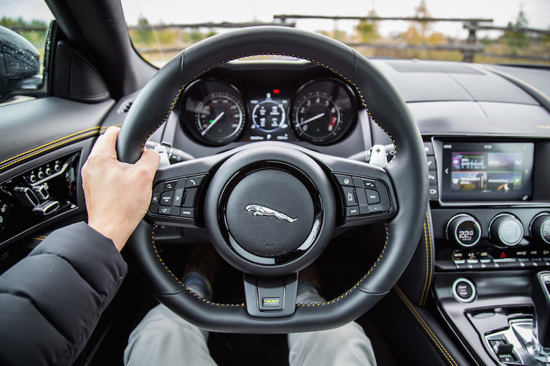 2018 Jaguar F-Type 400 Sport Coupe steering wheel pov