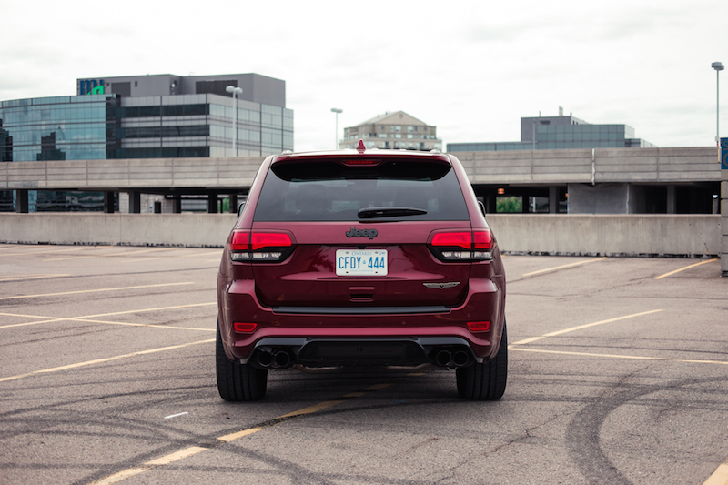 Jeep Cherokee Trackhawk rear view exhausts