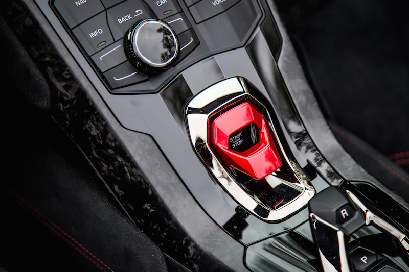 2018 Lamborghini Huracan Performante Spyder start button
