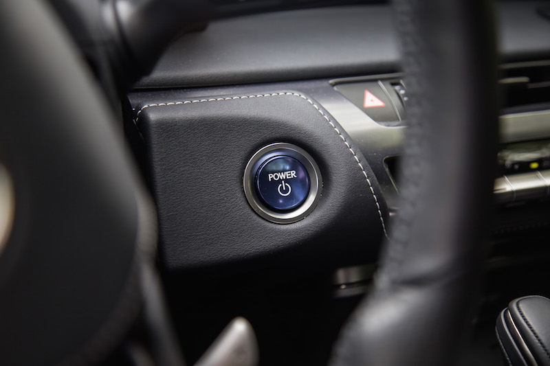 2018 Lexus LC 500h blue engine start button