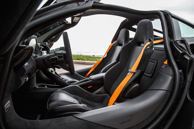 2018 McLaren 720S front seats orange seatbelts