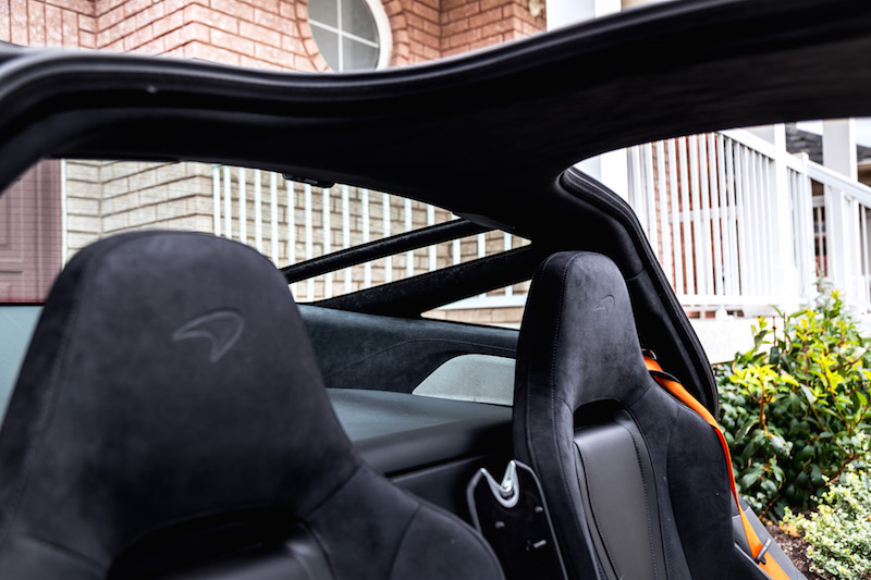 2018 McLaren 720S storage space behind seats and rear windows