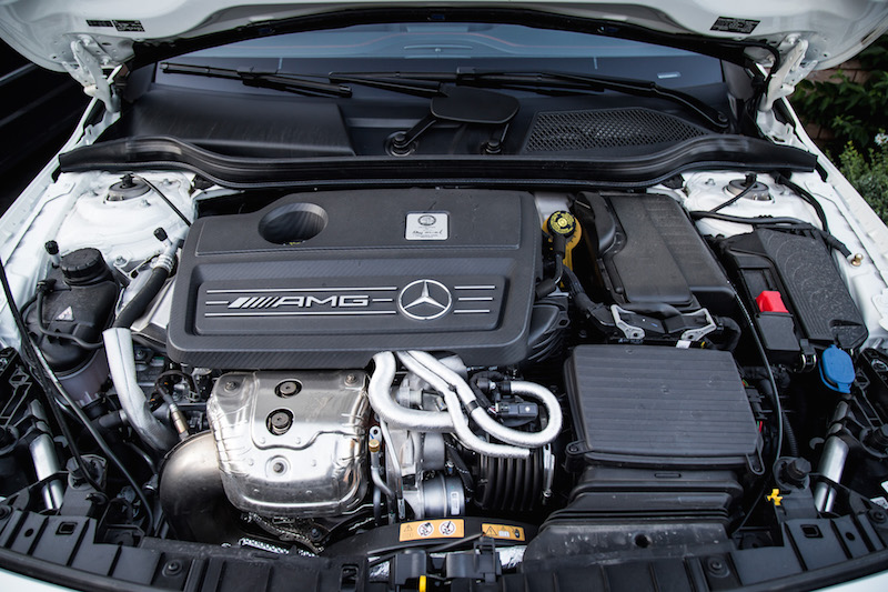 2018 Mercedes-AMG GLA45 engine bay four cylinder