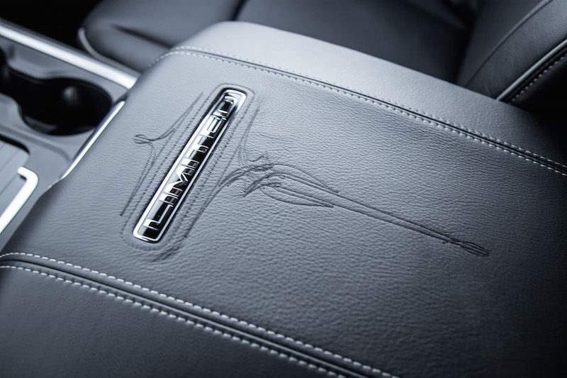 2018 RAM 1500 Limited Tungsten Edition stitching on center console armrest