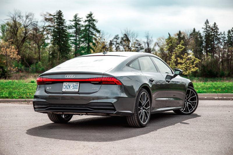 2019 Audi A7 rear view daytona grey