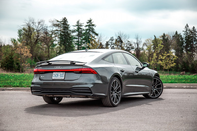 2019 Audi A7 rear quarter view spoiler up