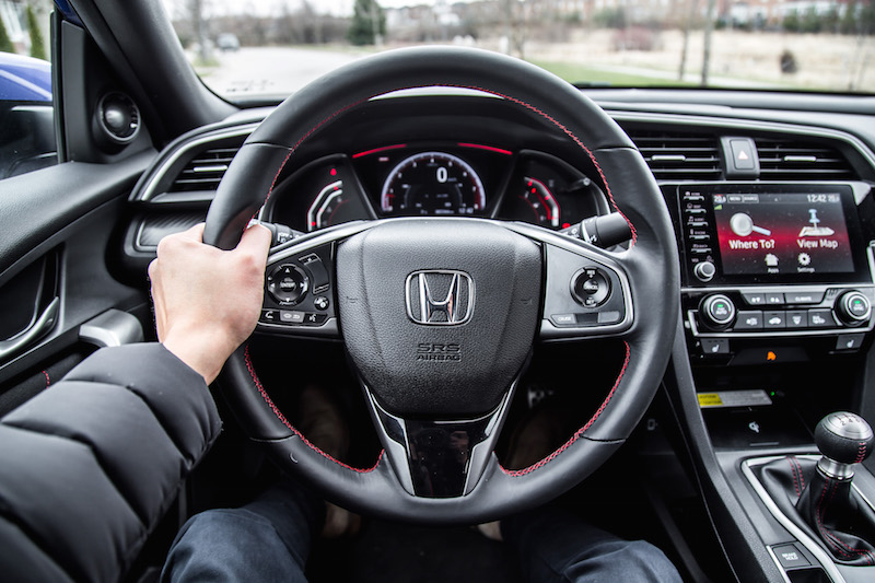 2019 Honda Civic Si Coupe steering wheel red stitching