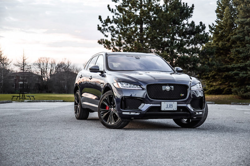 2019 Jaguar F-Pace S blue night time light