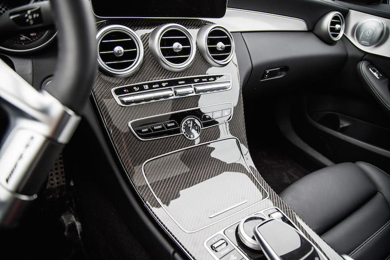 2019 Mercedes-AMG C 43 Wagon center console carbon fibre trim