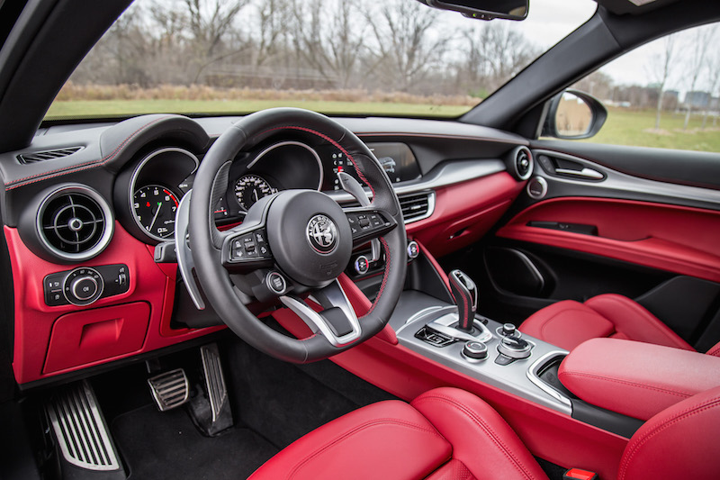 2020 Alfa Romeo Stelvio Ti interior red black