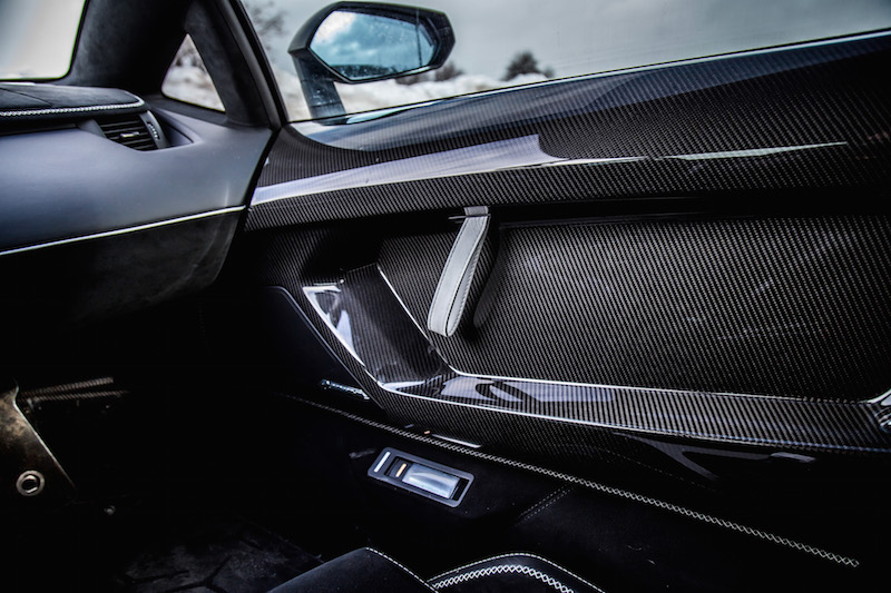 2020 Lamborghini Aventador SVJ Coupe door pull leather white