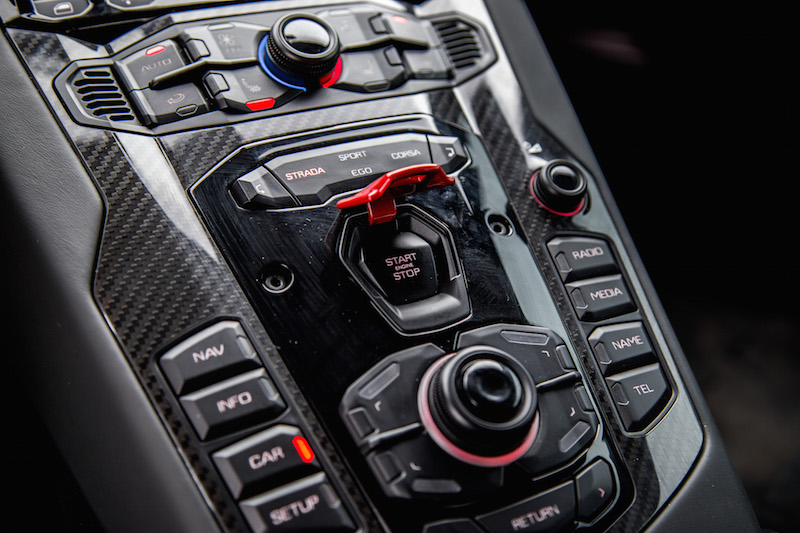 2020 Lamborghini Aventador SVJ Coupe start button
