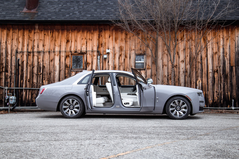 2021 Rolls-Royce Ghost Tempest Grey doors open